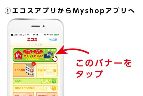 ①エコスアプリからMyshopアプリへ